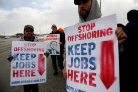 GM workers hold a rally outside the plant in Lordstown, Ohio, which after producing cars for 50 years is now closed, on March 6.