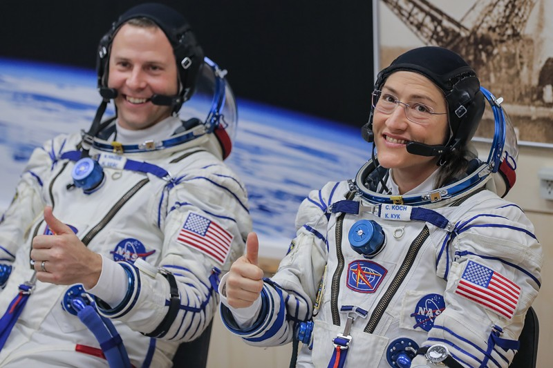 The astronauts Christina Koch and Nick Hague, who replaced Anne McClain on a recent mission due to a shortage of medium-sized spacesuits, at the Russian-leased Baikonur cosmodrome in Kazakhstan on March 14. (Sergei SavostyanovTASS via Getty Images)