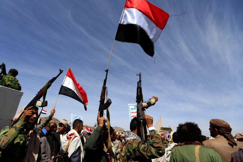 Supporters of Yemen's Houthi rebels attend a rally  in Sanaa, Yemen, on March 26. (Mohammed Huwais/AFP/Getty Images)