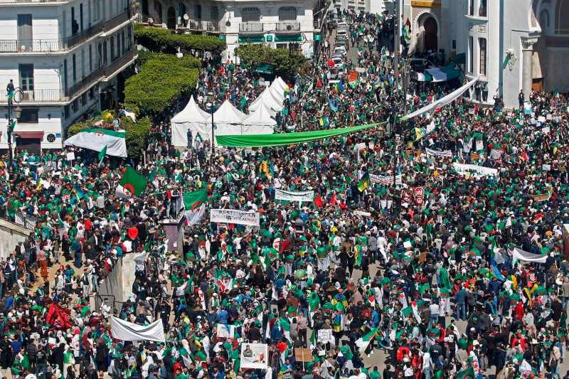 Algerian protesters gather during a mass demonstration against President Abdelaziz Bouteflika in Algiers on March 29. (AFP/Getty Images)