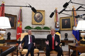 U.S. President Donald Trump meets with NATO Secretary-General Jens Stoltenberg at the White House on April 2. (Jim Watson/AFP/Getty Images)