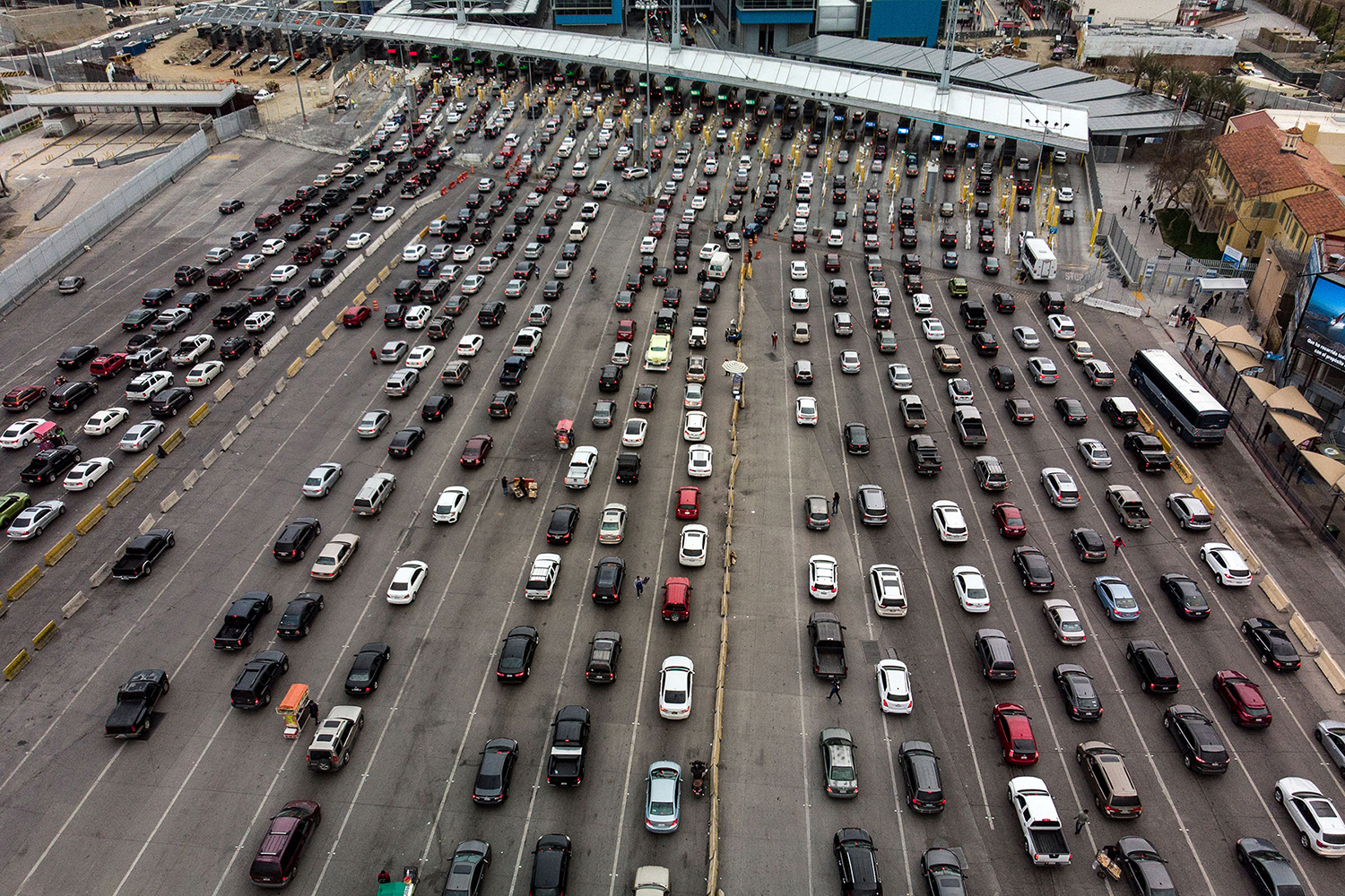 Cars line up at the San Ysidro crossing port headed from Tijuana in Mexico to San Diego in the United States on April 4. GUILLERMO ARIAS/AFP/Getty Images