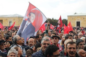 Supporters of the Republican People's Party  cheer and wave Turkish national flags in front of the mausoleum of Mustafa Kemal Ataturk in Ankara, on April 8. (Adem Altan/AFP/Getty Images)