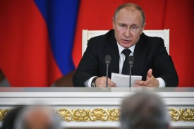 Russian President Vladimir Putin gives a joint press conference with his Turkish counterpart at the Kremlin in Moscow on April 8. (Alexander Nemenov/AFP/Getty Images)