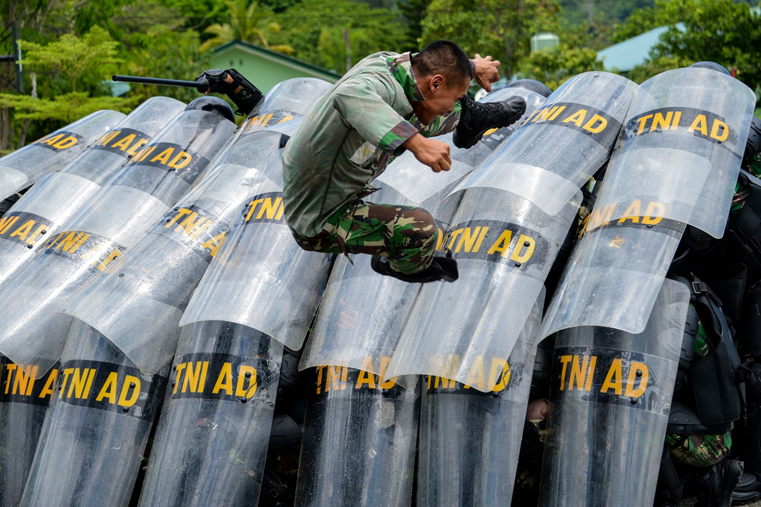 Indonesian soldiers take part in a practice for handling riots ahead of elections at their military home base in Banda Aceh, Aceh province, on April 9. CHAIDEER MAHYUDDIN/AFP/Getty Images