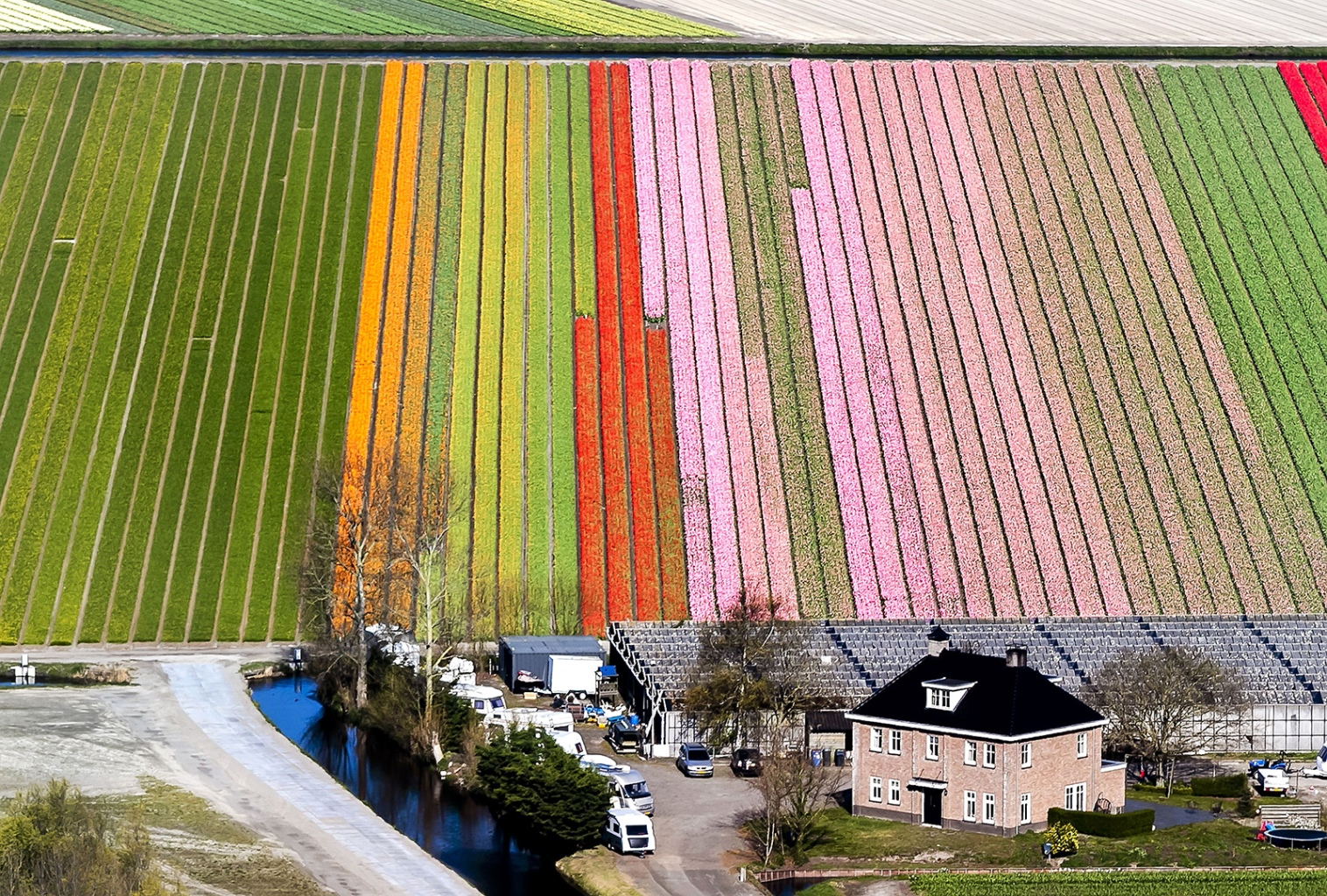 An aerial view of the flower fields of the Keukenhof, known as the Garden of Europe, in Lisse, southern Holland, on April 10. REMKO DE WAAL/AFP/Getty Images