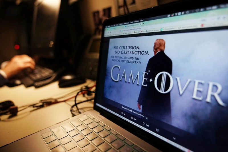 An illustration shows a Game of Thrones-style graphic from U.S. President Donald Trump's Twitter page in Washington, D.C., on April 18. (Mandel Ngan/AFP)