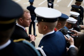 Acting U.S. Secretary of Defense Patrick Shanahan speaks with reporters at the Pentagon April 19, 2019, in Washington, DC. (BRENDAN SMIALOWSKI/AFP/Getty Images)