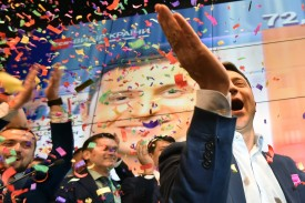 Volodymyr Zelensky celebrates after the announcement of the first exit poll results in the second round of Ukraine's presidential election at his campaign headquarters in Kiev on April 21.
