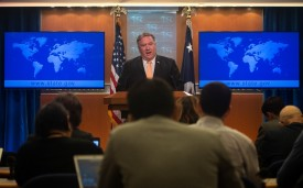U.S. Secretary of State Mike Pompeo speaks during a press conference at the State Department in Washington on April 22.