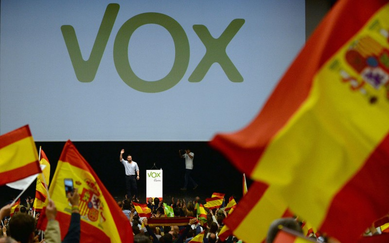 Candidate from Spanish far-right party Vox, Santiago Abascal, waves to supporters during a campaign rally in Seville on April 24 ahead of the April 28 general election. (Cristina Quicler/AFP/Getty Images)