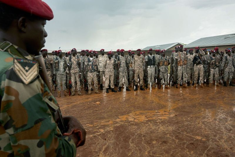 Personnel in the South Sudan People's Defence Forces, formerly named the Sudan People's Liberation Army, take part in a drill at their barracks south of Juba, South Sudan, on April 26. (Alex McBride/AFP/Getty Images)