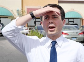Pete Buttigieg reacts as he sees an overflow crowd waiting for him at a meet-and-greet at Madhouse Coffee on April 8, 2019 in Las Vegas, Nevada.