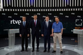 From left, People's Party leader Pablo Casado, Spain's Prime Minister and Socialist Party leader Pedro Sánchez, Ciudadanos party leader Albert Rivera, and Podemos party leader Pablo Iglesias attend a debate in Madrid on April 22 as candidates for Spain's general elections. (Pablo Blazquez Dominguez/Getty Images)