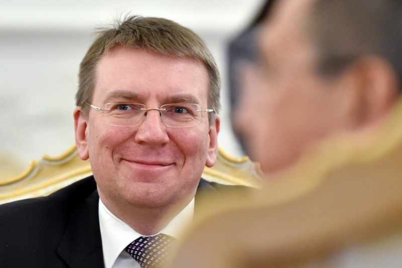 Latvian Foreign Minister Edgars Rinkevics smiles during a meeting with his Russian counterpart in Moscow on Jan. 12, 2015. (Kirill Kudryavtsev/AFP/Getty Images)