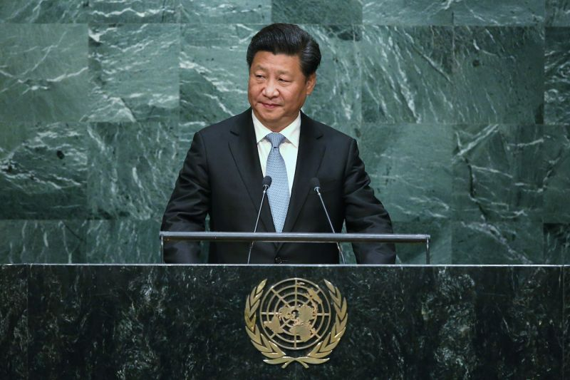 Chinese President Xi Jinping addresses the U.N. General Assembly in New York City on Sept. 28, 2015. (John Moore/Getty Images)