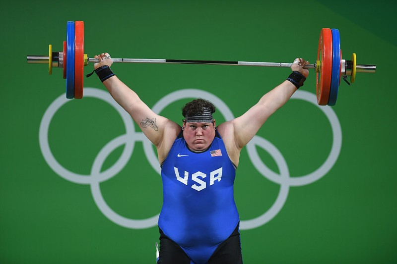 Sarah Elizabeth Robles of the United States competes during a weightlifting competition at the 2016 Olympic Games at Rio de Janeiro, Brazil.