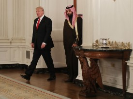 Donald Trump walks into the State Dinning Room to have lunch with Mohammed bin Salman at the White House on March 14, 2017. (Mark Wilson/Getty Images)