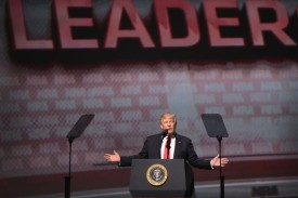 Donald Trump speaks at the NRA-ILA's Leadership Forum at the 146th NRA Annual Meetings & Exhibits on April 28, 2017 in Atlanta, Georgia.