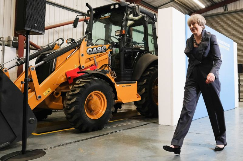 Prime Minister Theresa May at a plant machinery manufacturing firm on June 1, 2017 in Guisborough, United Kingdom.