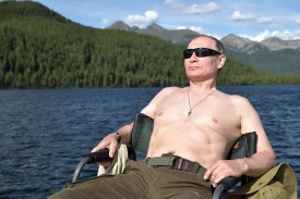 Russian President Vladimir Putin sunbathes during his vacation in the remote Tuva region in southern Siberia. The picture was taken between Aug. 1 and 3, 2017. (Alexey Nikolsky/AFP/Getty Images)
