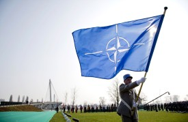 A commemoration for dead NATO soldiers at the NATO summit in Kehl, Germany, on April 4, 2009. (Action Press-Pool/Getty Images)