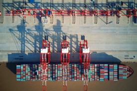 A loaded cargo ship sits in the Yangshan Deep-Water Port in China on Dec. 6, 2017. (AFP/Getty Images)