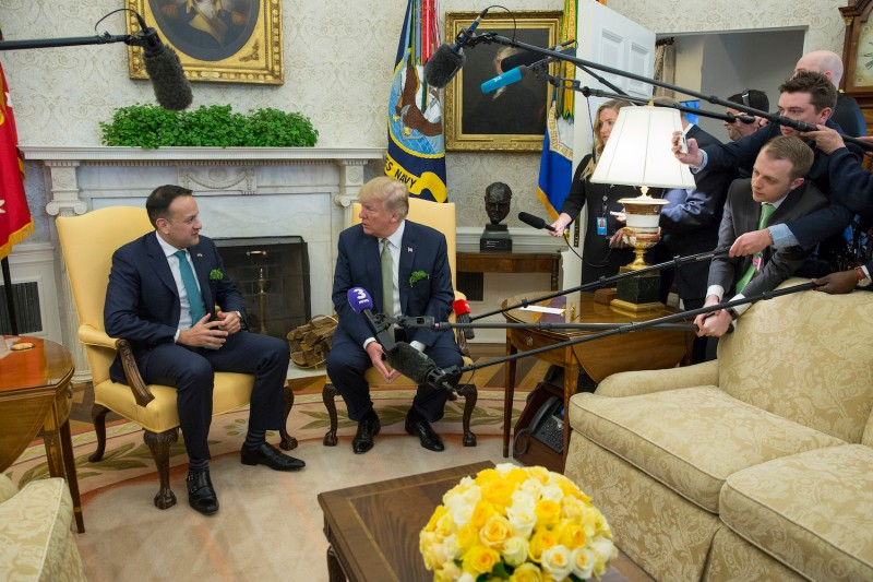 U.S. President Donald Trump meets with Irish Prime Minister Leo Varadkar at the White House on March 15, 2018. (Chris Kleponis-Pool/Getty Images)