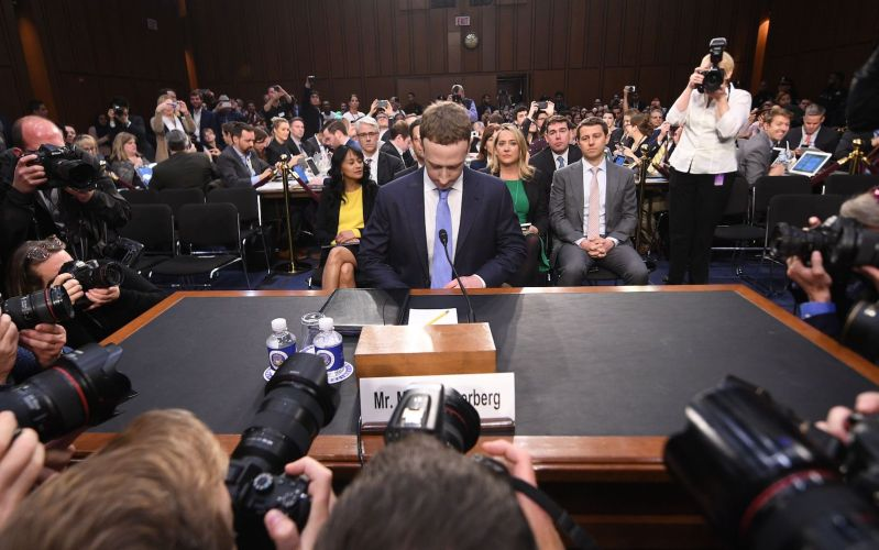 Facebook CEO Mark Zuckerberg arrives to testify before a joint hearing of the US Senate Commerce, Science and Transportation Committee and Senate Judiciary Committee on April 10, 2018 in Washington, DC.