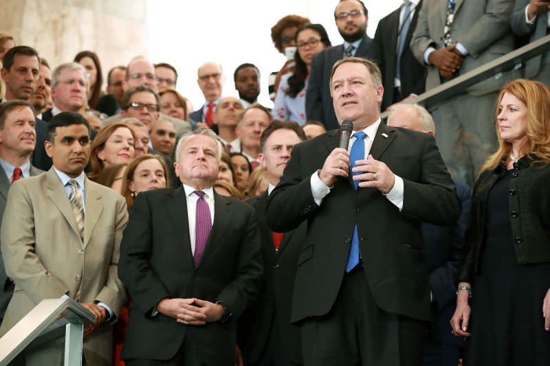 U.S. Secretary of State Mike Pompeo delivers remarks during a welcome ceremony in the lobby of the State Department in Washington on May 1, 2018.