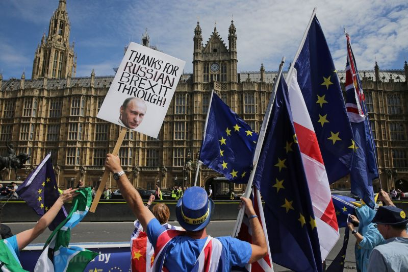 A pro-European Union demonstrator holds a placard bearing an image of Russian President Vladimir Putin in central London on June 11, 2018. (Daniel Leal-Olivas/AFP/Getty)