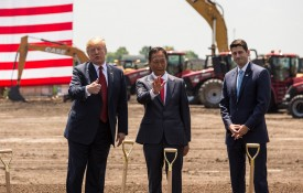 U.S. President Donald Trump (L) speaks  as Foxconn CEO Terry Gou (C) and U.S. House Speaker Paul Ryan (R-WI) watch at the groundbreaking for a Foxconn plant on June 28, 2018 in Mt Pleasant, Wisconsin.  (Photo by Andy Manis/Getty Images)