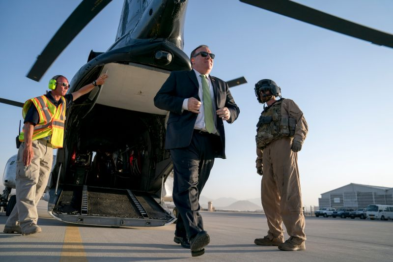 U.S. Secretary of State Mike Pompeo arrives at Camp Alvarado after meeting with Afghan President Ashraf Ghani in Kabul on July 9, 2018. (Andrew Harnik/AFP/Getty Images)