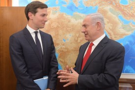 Israel's Prime Minister Benjamin Netanyahu meets with Jared Kushner on June 21, 2017 in Jerusalem.