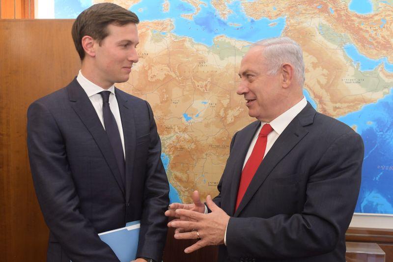 Israel's Prime Minister Benjamin Netanyahu meets with Jared Kushner on June 21, 2017 in Jerusalem.