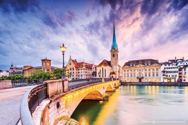 View of the famous Fraumunster Church in Zurich, Switzerland