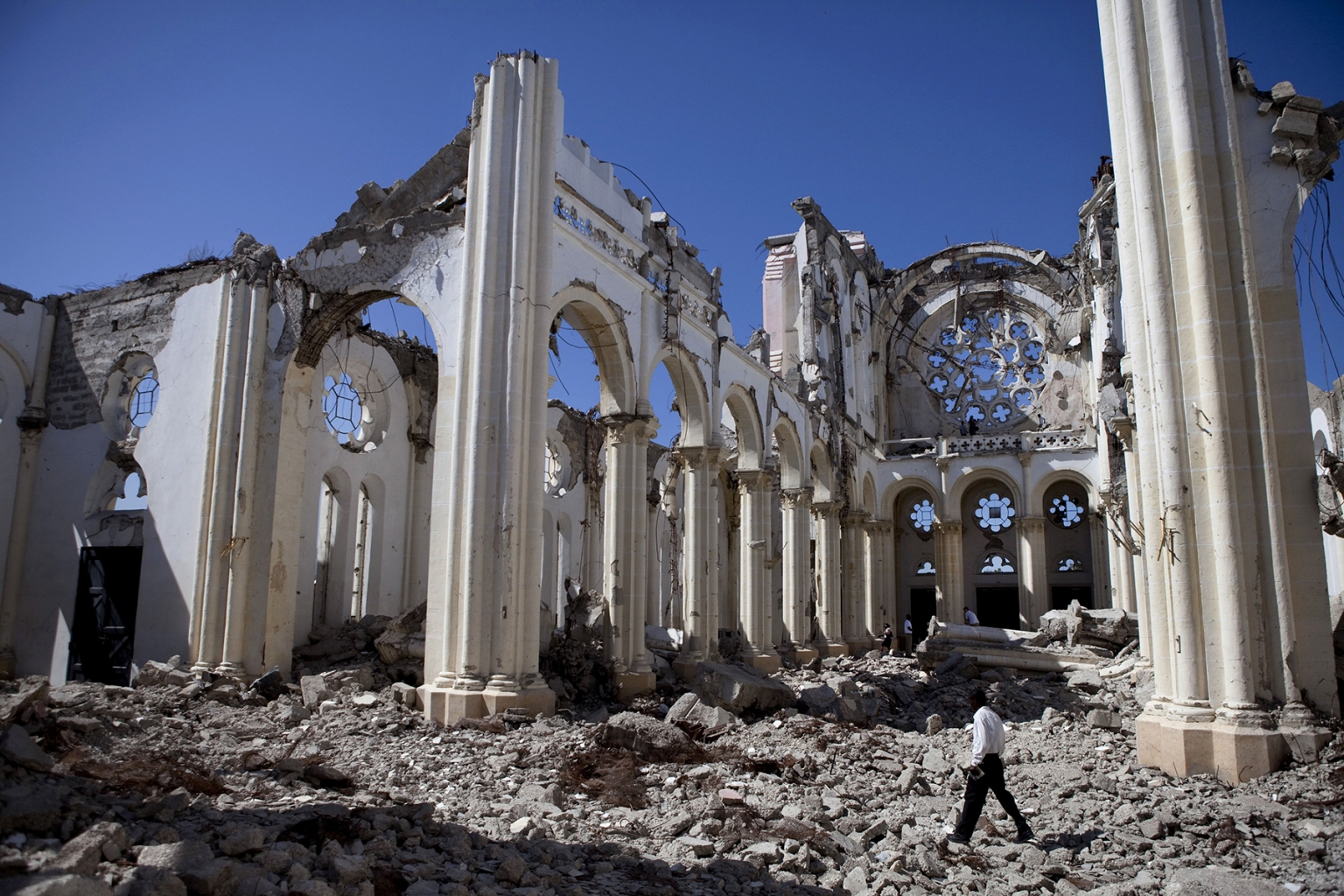 The remains of the Notre Dame Cathedral of Port-au-Prince, built between 1884 and 1914, after the devastating earthquake in Haiti, in January 2010. The National Palace and the Supreme Court also collapsed in the quake that killed an estimated 230,000. (Jonathan Torgovnik/Getty Images)