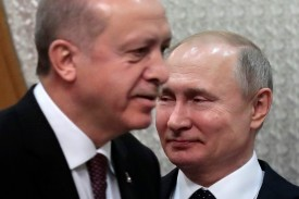 Russian President Vladimir Putin meets with his Turkish counterpart Recep Tayyip Erdogan in the Black Sea resort of Sochi on Feb. 14.
