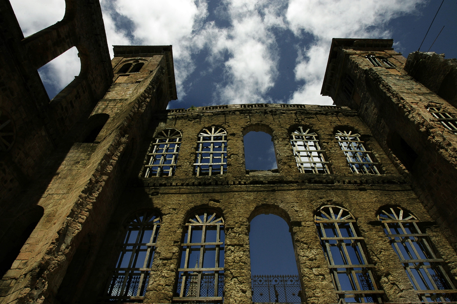 The remaining walls of the Rova of Antananarivo seen in March 2005 after it was gutted by fire in Madagascar in 1995. The palace, which has since been restored, dates to the 17th century and was home Madagascar royalty. (Marco Longari/AFP/Getty Images)
