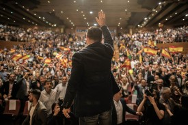 Santiago Abascal, the leader of the far-right party Vox arrives to a rally at Palacios de Congresos on Apr. 17 in Granada, Spain.