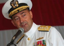 U.S. Navy Adm. James Stavridis speaks at the re-establishment ceremony for the 4th Fleet at Naval Station Mayport in Jacksonville, Florida, on July 12, 2008.