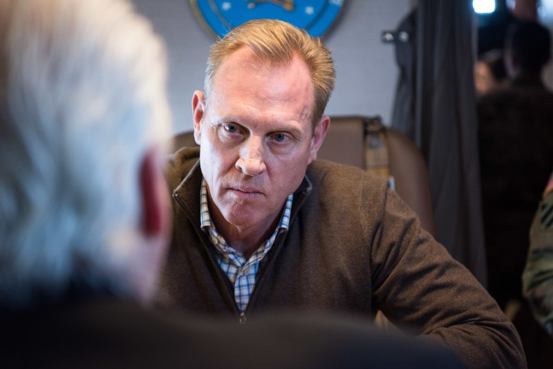 Acting U.S. Defense Secretary Patrick Shanahan speaks to reporters during a flight from El Paso, Texas, after visiting the southern U.S. border on Feb. 23.