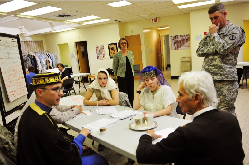 Deputy Commanding General of the U.S. Training and Doctrine Command David Halverson observes an Arabic immersion class at the Defense Language Institute Foreign Language Center's facility in Seaside, California, on Feb. 20.
