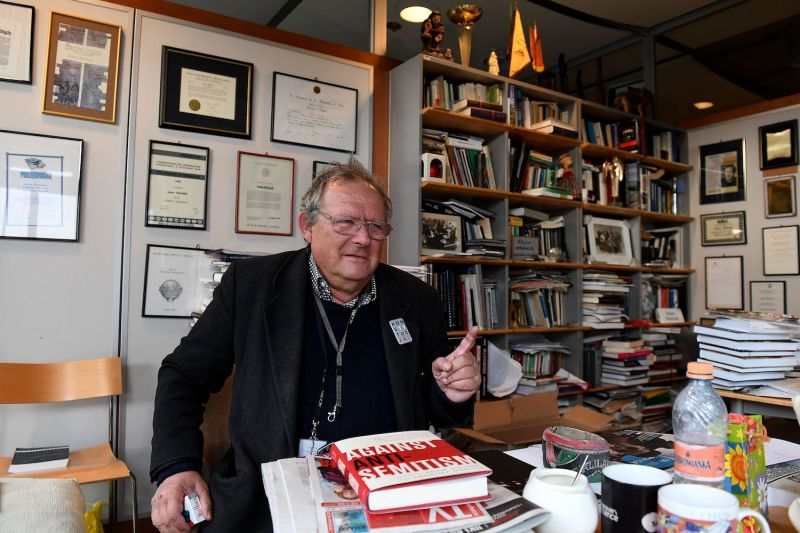 Adam Michnik, a prominent communist-era dissident who is now editor-in-chief of Gazeta Wyborcza, Poland's leading liberal newspaper, is pictured in his newspaper's office on Feb. 23, 2018 in Warsaw.
