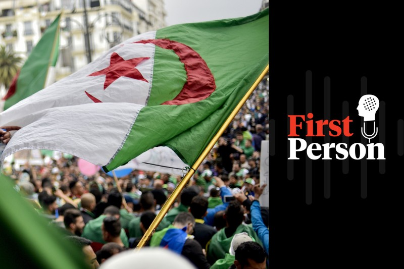 Algerian protesters wave a national flag as they take part in a demonstration in the capital of Algiers on May 3.