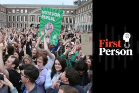 """Yes"" campaigners wait for the official result in the Irish referendum vote to overturn the country's abortion ban at Dublin Castle in Dublin on May 26, 2018."