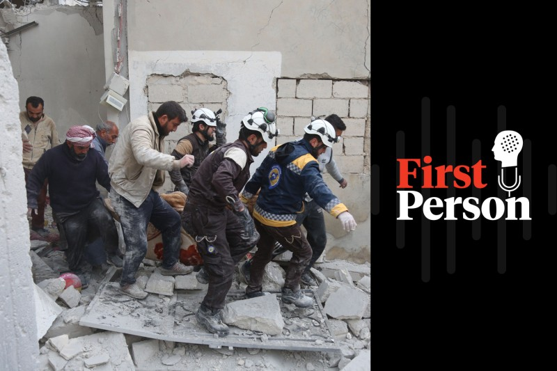 Members of the Syrian Civil Defence (known as the White Helmets) carry a wounded person after shelling in the town of Khan Sheikhoun in rebel-held Idlib province on Feb. 26.