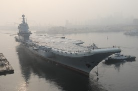 China's first domestically manufactured aircraft carrier leaves port for sea trials from the northeast city of Dalian on May 13, 2018.