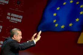 Then-Turkish Prime Minister Recep Tayyip Erdogan speaks to Turkish expatriates at an event to mark the 10th anniversary of the Union of European Turkish Democrats in Cologne, Germany, on May 24, 2014.