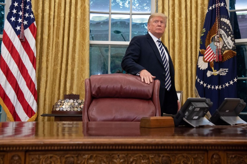 U.S. President Donald Trump in the Oval Office in Washington on July 30, 2018.